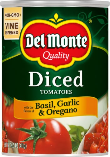 Del Monte Diced Tomatoes with Basil Garlic & Oregano Perspective: front
