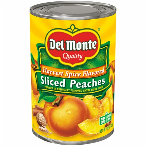 Del Monte Harvest Spice Sliced Peaches in Light Syrup Perspective: front