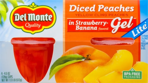 Del Monte Lite Diced Peaches In Strawberry-Banana Flavored Gel Fruit Cups Perspective: front