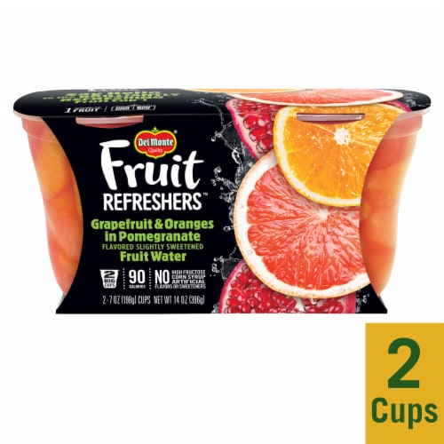 Del Monte Fruit Refreshers Grapefruit & Oranges in Pomegranate Fruit Water Fruit Cups 2 Count Perspective: front