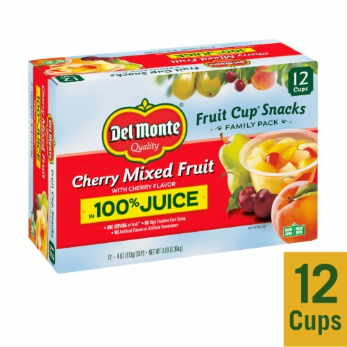 Del Monte Cherry Mixed Fruit Snack Cups Family Pack Perspective: front