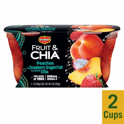 Del Monte Fruit & Chia Peach in Strawberry Dragon Fruit Cups 2 Count Perspective: front