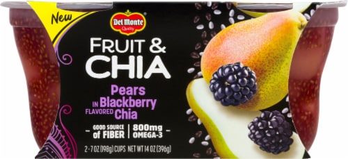 Del Monte Fruit & Chia Pears in Blackberry Fruit Cups Perspective: front
