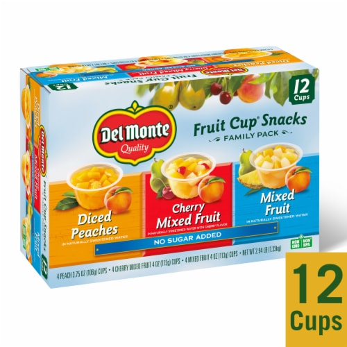 Del Monte No Sugar Added Fruit Cup Snacks Variety Pack Perspective: front