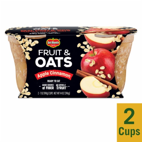 Del Monte Fruit & Oats Apple Cinnamon Cups 2 Count Perspective: front
