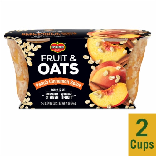 Del Monte Fruit & Oats Peach Cinnamon Spice Cups 2 Count Perspective: front