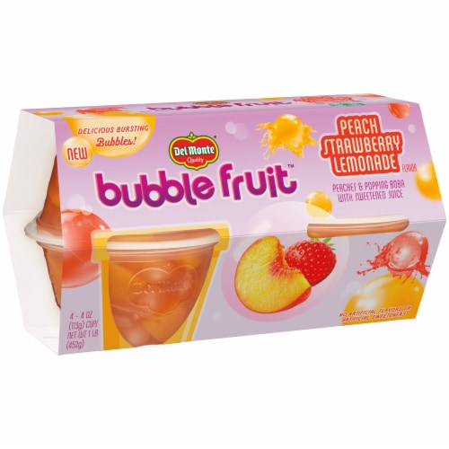 Del Monte Peach Strawberry Lemonade Bubble Fruit Cups Perspective: front
