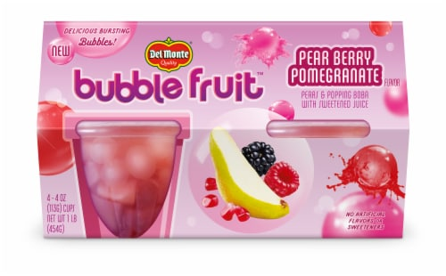 Del Monte Bubble Fruit Pear Berry Pomegrantae Pears & Popping Boba in Sweetened Juice Cups 4 Count Perspective: front