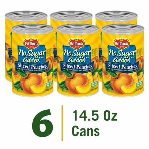 Del Monte® No Sugar Added Sliced Yellow Cling Peaches Perspective: front