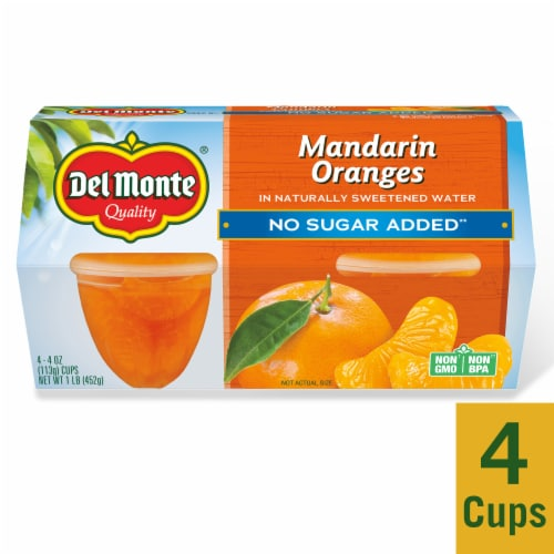 Del Monte No Sugar Added Mandarin Oranges Fruit Cups Perspective: front