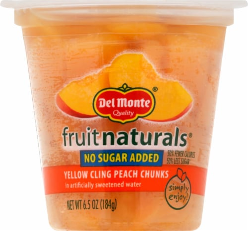 Del Monte Fruit Naturals No Sugar Added Yellow Cling Peach Chunks Fruit Cup Perspective: front