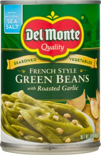 Del Monte French Style Green Beans with Roasted Garlic Perspective: front