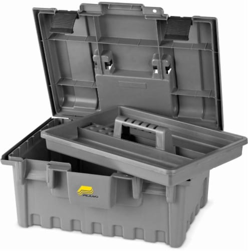 Plano 16-Inch Power Tool Box with Tray - Gray Perspective: front