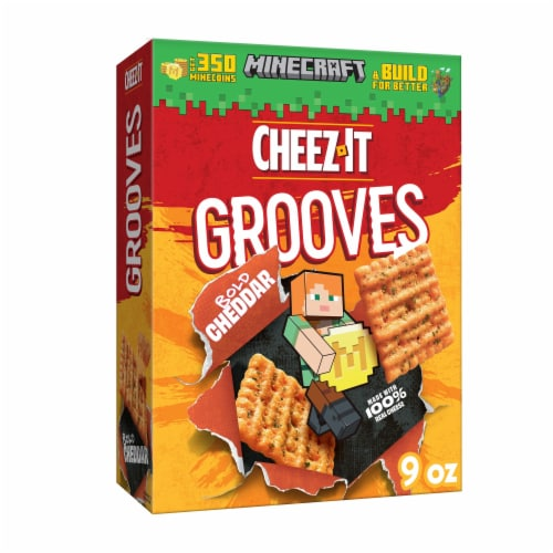 Cheez-It Grooves Crunchy Cheese Snack Crackers Original Cheddar Perspective: front