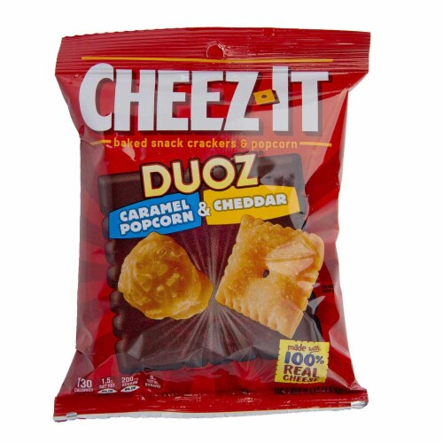Sunshine Cheez It Duoz Caramel Popcorn and Cheddar Cracker, 4 Ounce -- 6 per case. Perspective: front