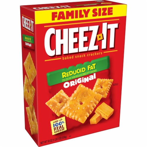 Cheez-It Baked Snack Cheese Crackers Reduced Fat Original Family Size Perspective: front