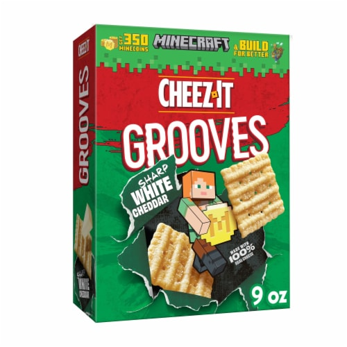 Cheez-It Grooves Crunchy Cheese Snack Crackers Sharp White Cheddar Perspective: front