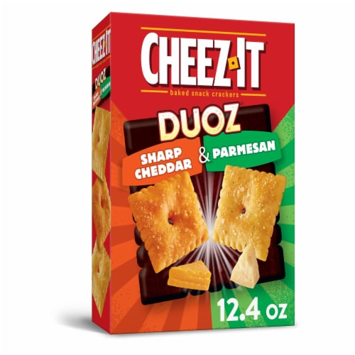 Cheez-It Duoz Baked Snack Cheese Crackers Sharp Cheddar & Parmesan Perspective: front