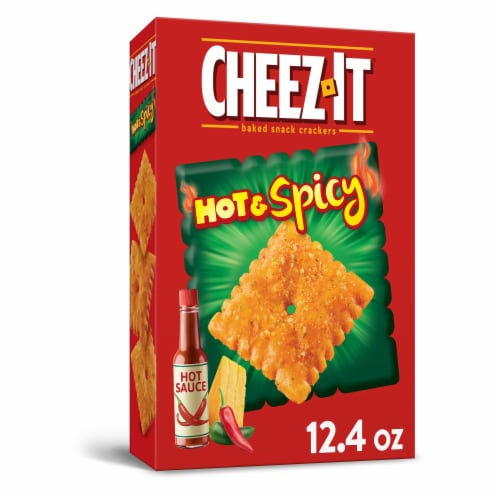 Cheez-It Baked Snacks Hot and Spicy Cheese Crackers Perspective: front