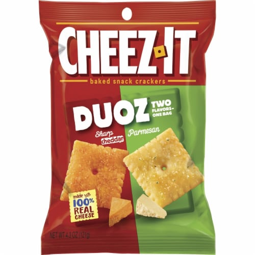 Cheez It Duoz Cheddar Jack and Baby Swiss Cracker, 4.3 Ounce -- 6 per case. Perspective: front