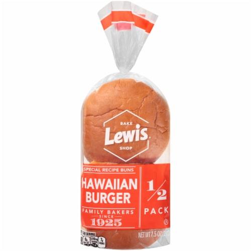 Lewis Bake Shop Hawaiian Burger Buns 1/2 Pack 4 Count Perspective: front