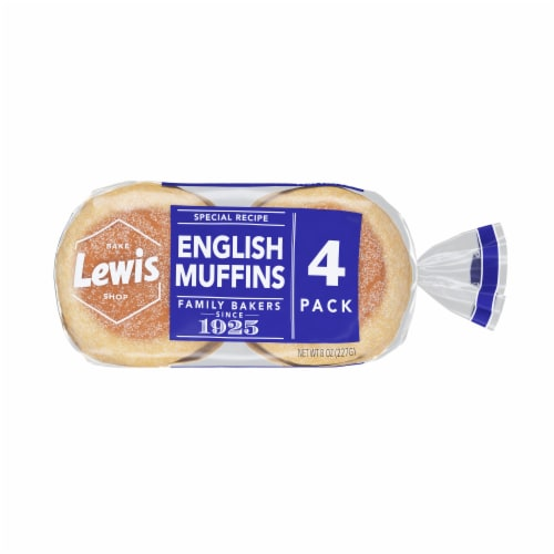 Lewis Bake Shop Special Recipe White English Muffins 4 Count Perspective: front