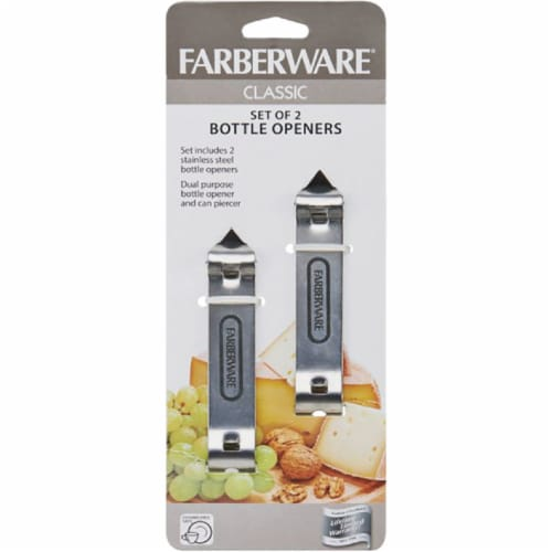 Farberware 6009320 Silver Stainless Steel Manual Bottle Opener Perspective: front