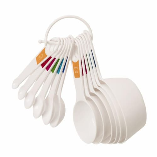 Lifetime Plastic White Measuring Spoon & Cup Set Perspective: front
