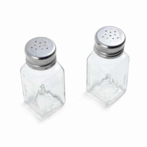 Farberware Clear Glass & Stainless Steel Salt & Pepper Shakers Perspective: front
