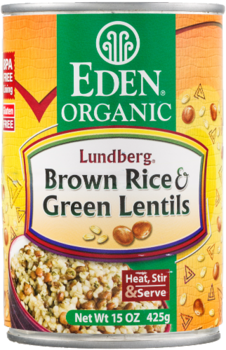 Eden Organic Brown Rice & Green Lentils Perspective: front