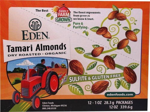 Eden Foods  Pocket Snacks Tamari Almonds Perspective: front