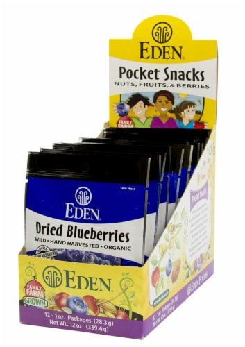 Eden Foods Dried Blueberries Pocket Snacks Perspective: front