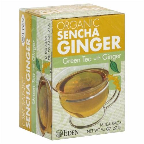 Eden Organic Sencha Ginger Green Tea Bags Perspective: front