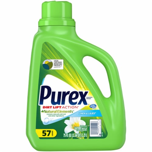 Purex Dirt Lift Action Natural Elements Linen & Lilies Liquid Laundry Detergent Perspective: front