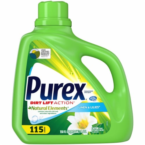 Purex Dirt Lift Action Natural Elements Linen & Lilies Liquid Laundry Detergent Perspective: front