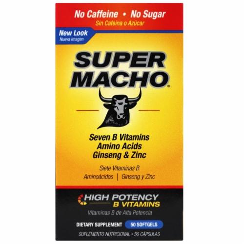 Super Macho Seven B Vitamins Amino Acids Ginseng & Zinc Softgels Perspective: front