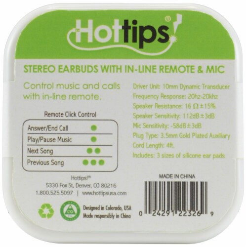Hottips In-Line Remote & Mic Stereo Earbuds Perspective: front