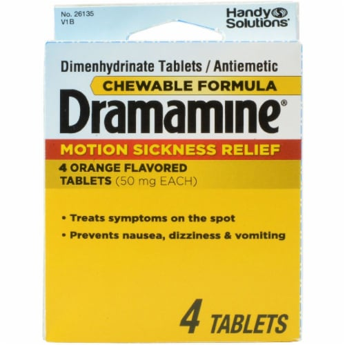Dramamine Motion Sickness Relief Orange Flavored Chewable Tablets Perspective: front
