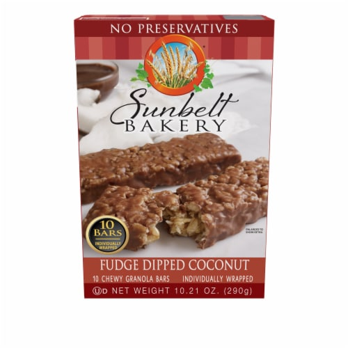 Sunbelt Bakery Fudge Dipped Coconut Chewy Granola Bars Perspective: front