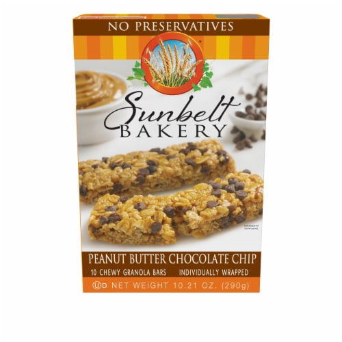 Sunbelt Bakery Peanut Butter Chocolate Chip Chewy Granola Bars Perspective: front