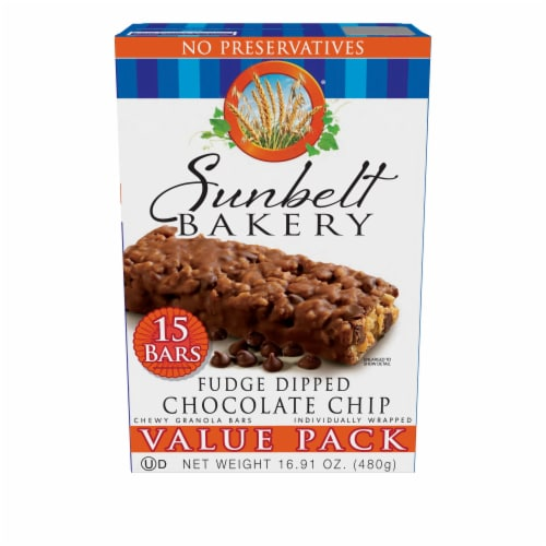 Sunbelt Bakery Fudge Dipped Chocolate Chip Chewy Granola Bars Value Pack Perspective: front