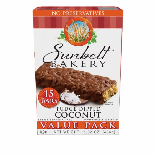 Sunbelt Bakery Fudge Dipped Coconut Chewy Granola Bars Variety Pack Perspective: front
