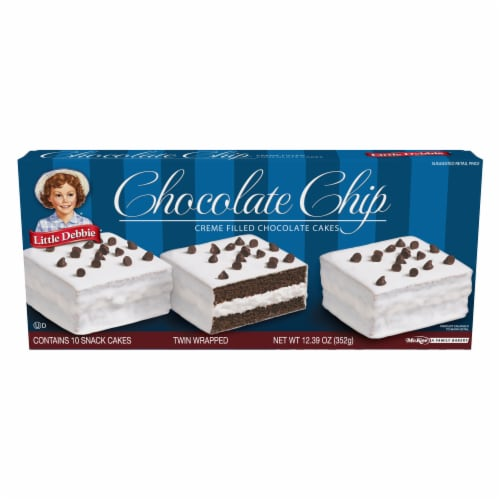 Little Debbie Chocolate Chip Creme Filled Chocolate Cakes Perspective: front
