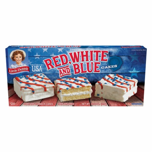 Little Debbie Vanilla Red White & Blue Cakes Perspective: front