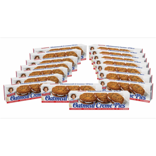 Little Debbie Oatmeal Creme Pies, 16 Boxes, 192 Soft Oatmeal Cookies with Creme Perspective: front