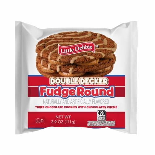 Little Debbie Double Decker Fudge Round Snack Cake Perspective: front