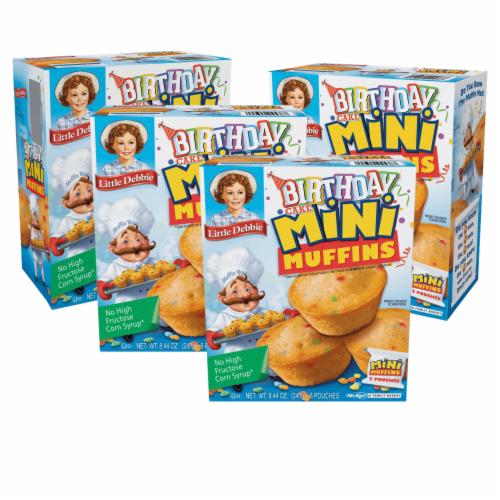 Little Debbie Birthday Cake Mini Muffins, 4 Boxes, 20 Travel Pouches of Bite Size Muffins Perspective: front