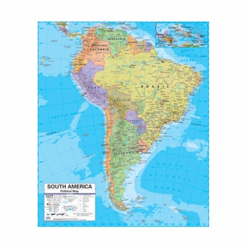 Universal Map 0762547057 South America Advanced Political Deskpad Map Set - 30 pack Perspective: front