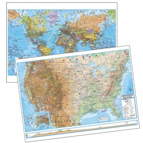 Universal Map 762552581 US Advanced Physical & World Advanced Political Deskpad Map 30 Boxed Perspective: front