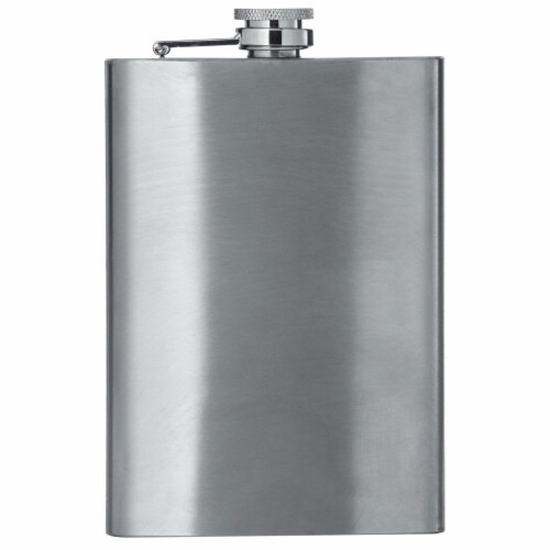 Maxam 8 Ounce Stainless Steel Flask Lightweight Drinking Flask with a Screw-On Leak Proof Lid Perspective: front
